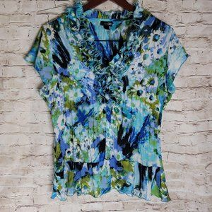 East 5th Women. Blouse Ruffle Neck Floral Water Co